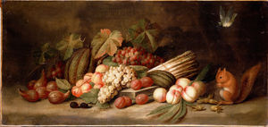 Jan Pauwel The Elder Gillemans - Natureza morta com frutas e um esquilo