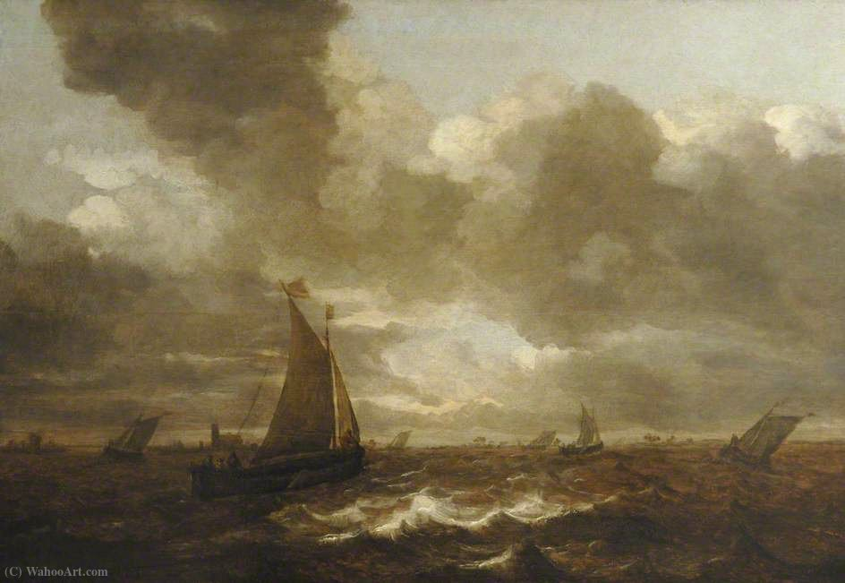 Seascape off Dordrecht por Jan Porcellis (1583-1632, Belgium)