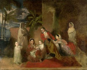 Johann Zoffany - Major William Palmer com sua segunda esposa, a princesa Mughal Bibi Faiz Bakhsh