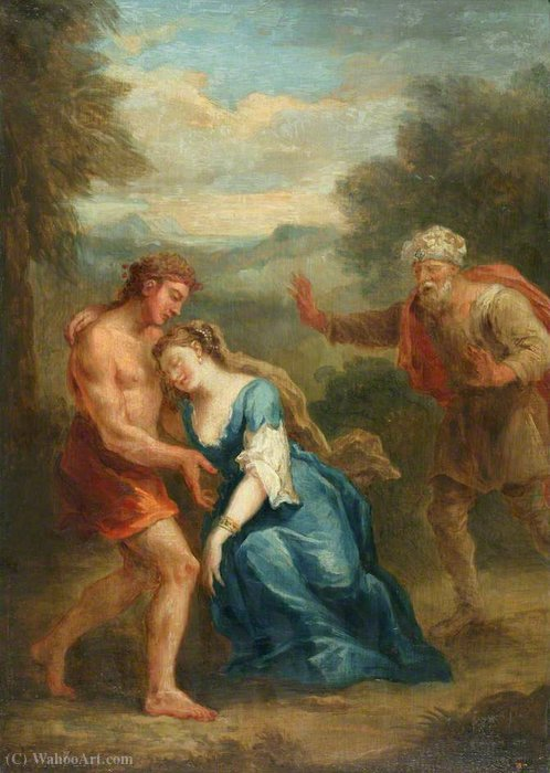 Cena Don Quixote Zoraida finge Swoon no Jardim por John Vanderbank (1694-1739, United Kingdom)