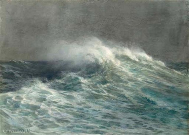Ondas causando um crash por Joseph Arthur Palliser Severn (1842-1931, United Kingdom)