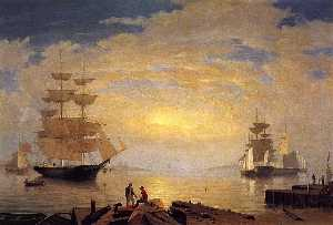 Fitz Hugh Lane - Gloucester Harbor em Sunrise