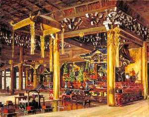 Marianne North - Interior de Chion no templo , Kioto , No japão