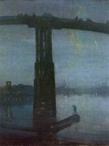 James Abbott Mcneill Whistler - Noturno no azul e ouro Battersea Ponte Velha