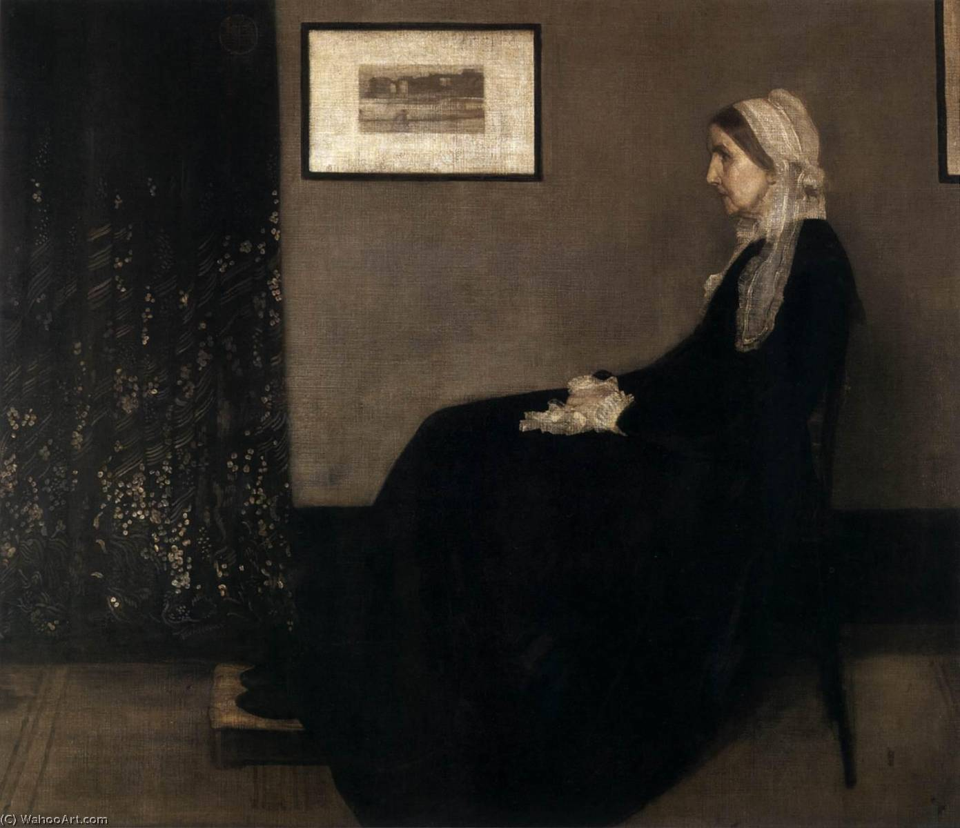 mãe do artista, óleo sobre tela por James Abbott Mcneill Whistler (1834-1903, United States)