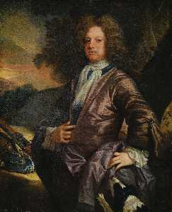 John Closterman - Retrato de William Paulo ( 1673 1711 ) de bray , Berkshire , com o seu cão e uma arma