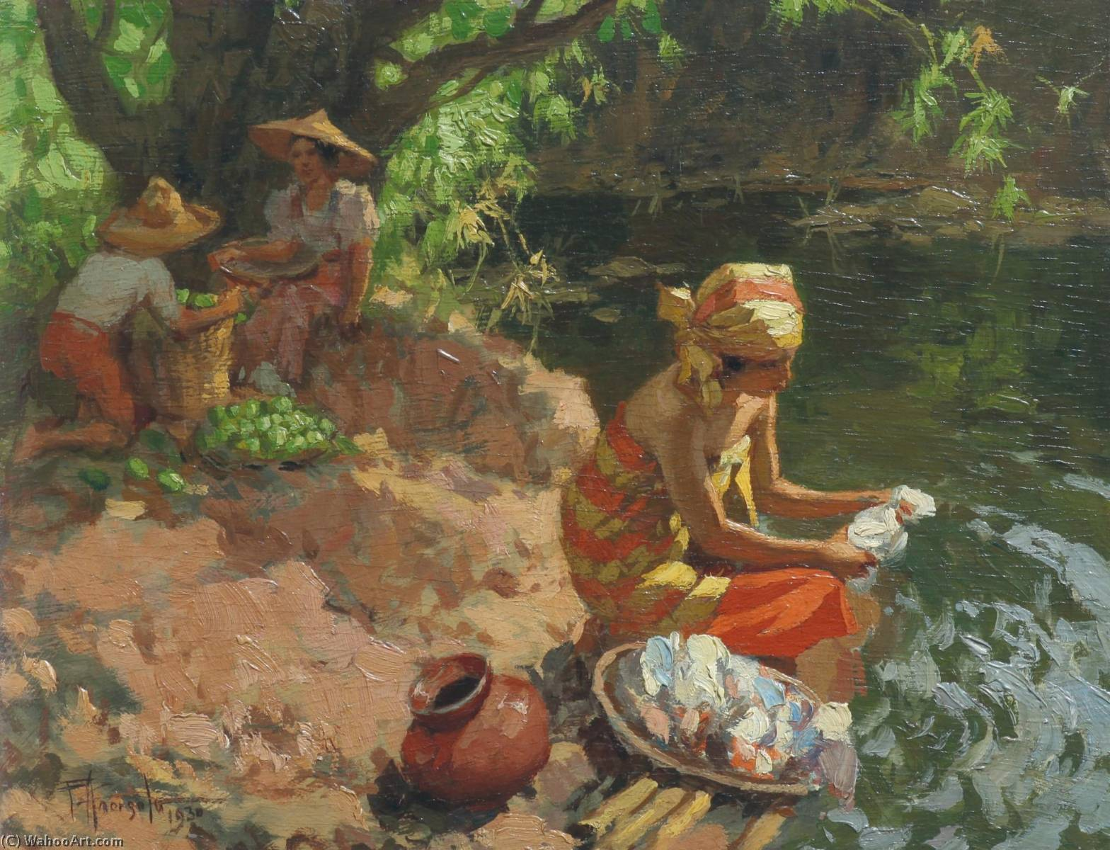 lavando Em  o  Rio , Petróleo por Fernando Cueto Amorsolo (1892-1972, Captaincy General Of The Philippines)