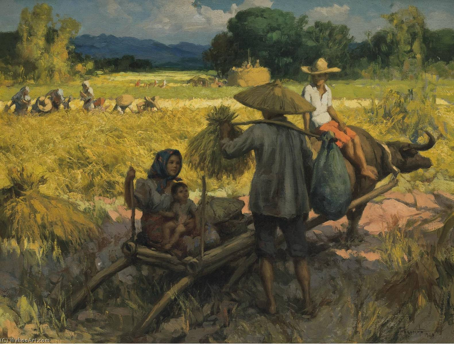 colheita, óleo sobre tela por Fernando Cueto Amorsolo (1892-1972, Captaincy General Of The Philippines)