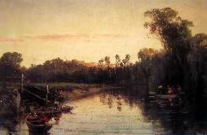 Louis Buvelot - Ferry on o Yarra ( Brander's Balsa )