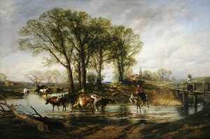 William Powell Frith - Paisagem com gado