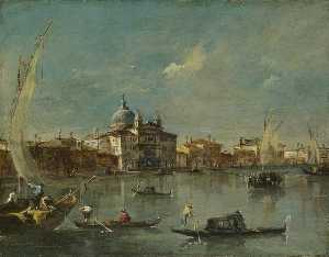Francesco Lazzaro Guardi - veneza, o Giudecca com o Zitelle