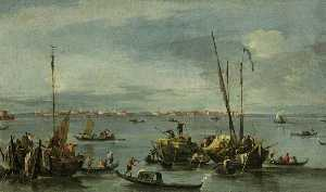 Francesco Lazzaro Guardi - vista para murano do fondamente nuove , Veneza