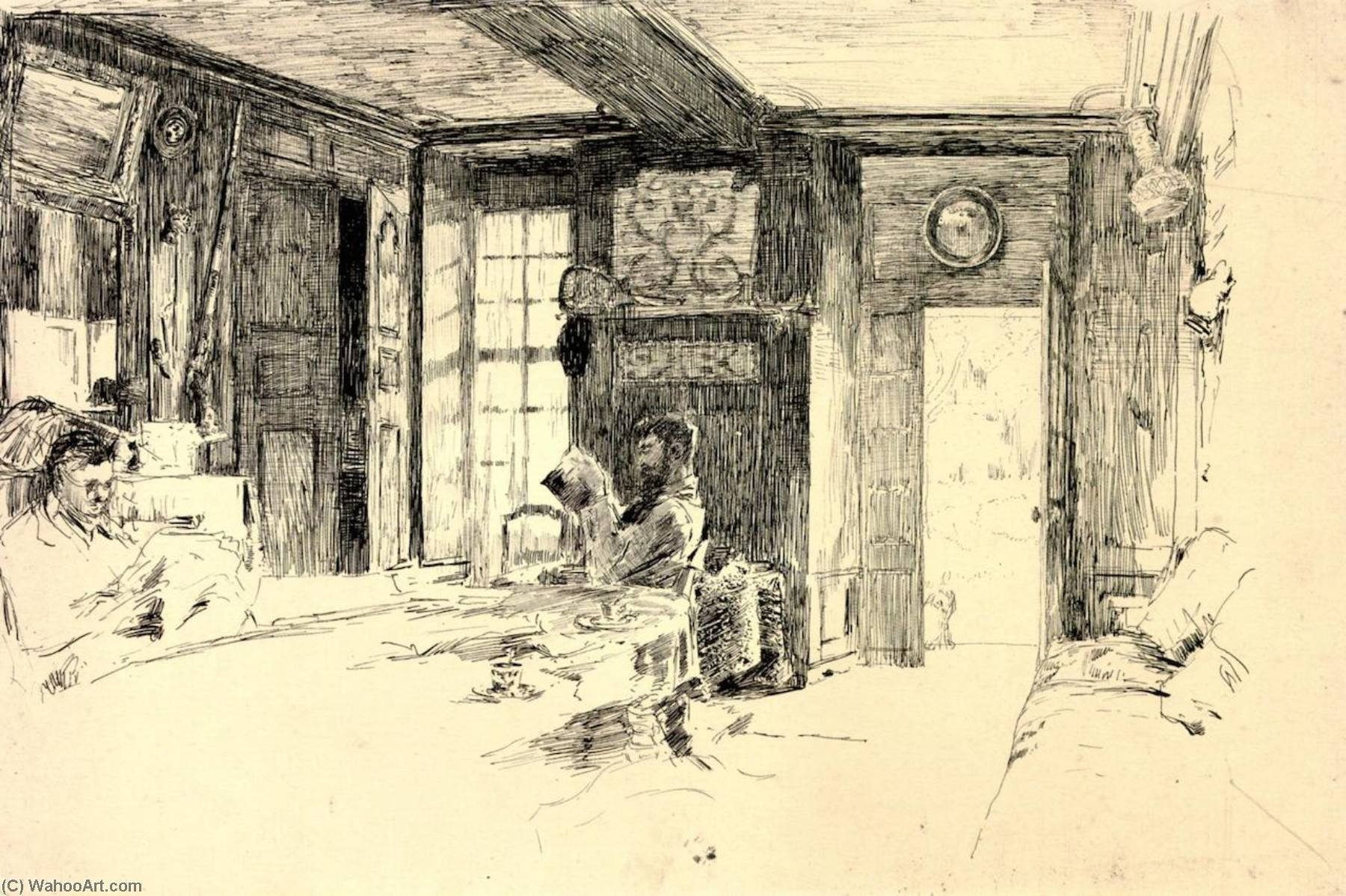 Interior do Quinta , Giverny, desenho por William Blair Bruce (1859-1906, Canada)