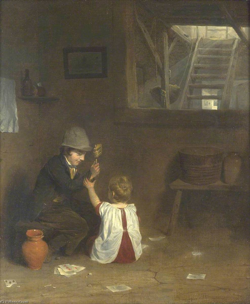 o chocalho , óleo sobre tela por William Mulready The Younger (1786-1863, Ireland)