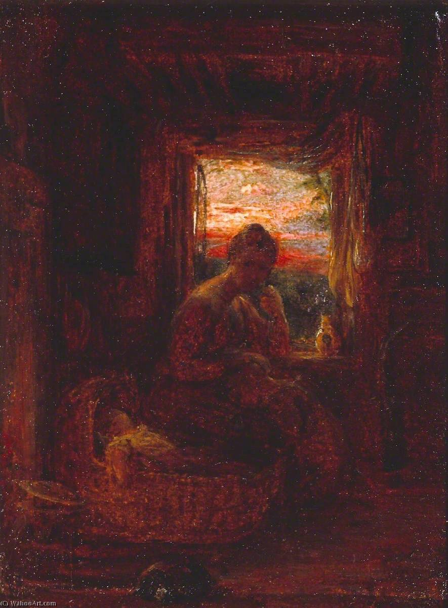 Estuda para 'Interior de um Inglês Cottage', Petróleo por William Mulready The Younger (1786-1863, Ireland)