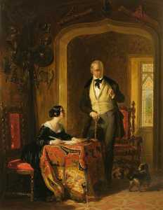 William Allan - sir walter scott dictando a sua Filha , Anne , no Arsenal em abbotsford