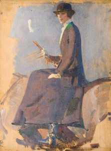 Alfred James Munnings - um estudo retrato do Duquesa de westminster ( verso )