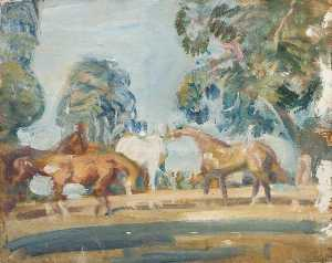 Alfred James Munnings - Estudo de 'Rose' , 'Wild Bird' , 'Peggy' e 'Stockings'