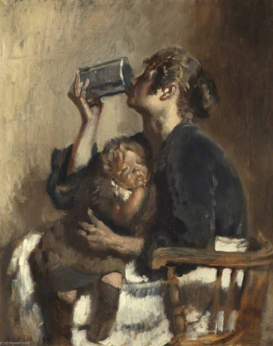 Lottie e o Bebé, 1907 por William Newenham Montague Orpen (1878-1931, Ireland) | Cópias Da Arte Na Tela | WahooArt.com