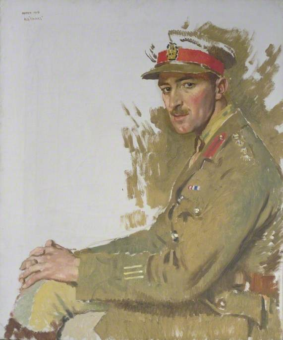 major f . e . Hotblack , DSO , MC, 1917 por William Newenham Montague Orpen (1878-1931, Ireland) | Reproduções De Pinturas Famosas | WahooArt.com
