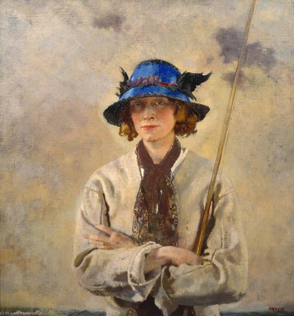 O pescador, óleo sobre tela por William Newenham Montague Orpen (1878-1931, Ireland)
