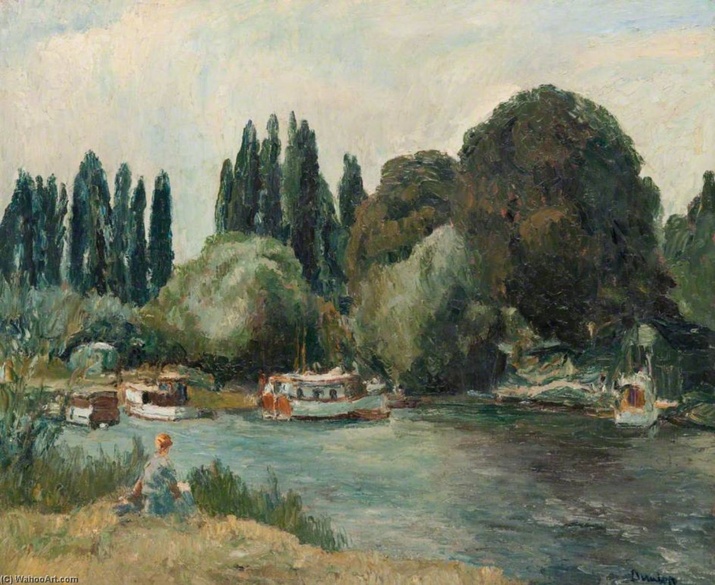 Barco creek at shepperton, óleo sobre tela por Ronald Ossory Dunlop (1894-1973, Ireland)