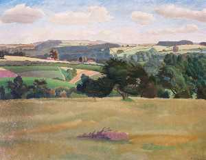 Gilbert Spencer - Oxfordshire Paisagem