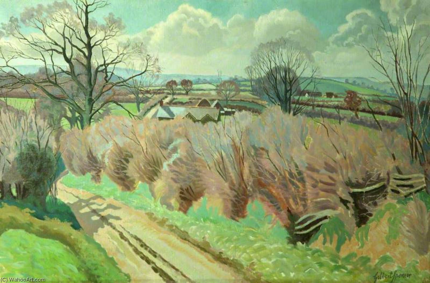 Twyford , Dorset, óleo sobre tela por Gilbert Spencer (1892-1979, United Kingdom)