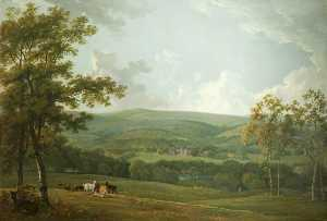 George Barret The Elder - Uma vista distante de towneley Corredor