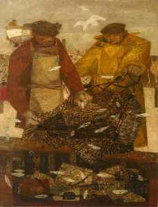 Prunella Clough - Pescador com Sprats