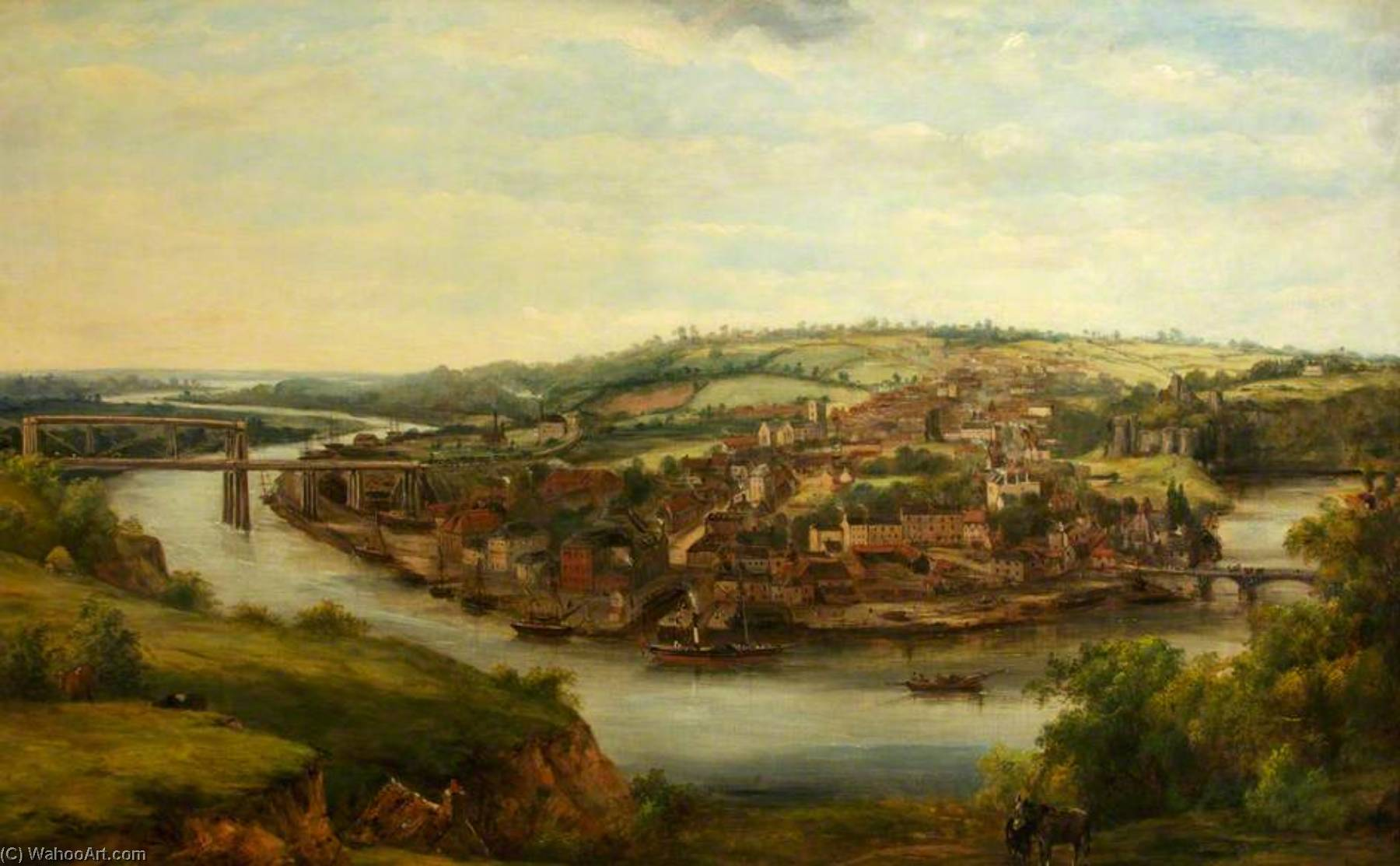 Chepstow, 1855 por Frederick Waters (William) Watts (1800-1870, United Kingdom) | Reproduções De Pinturas Famosas | WahooArt.com
