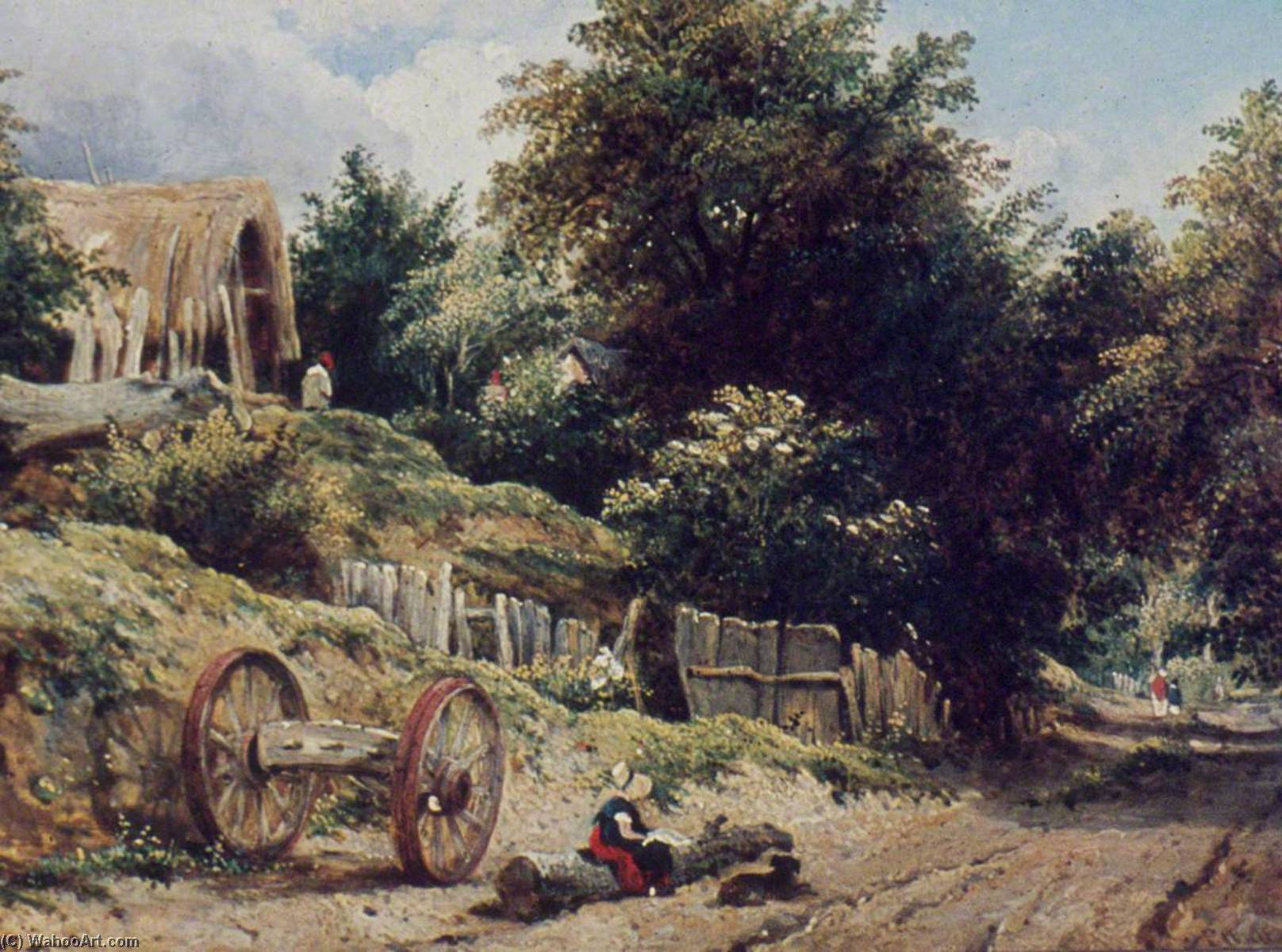 lane perto de bishopstoke , Hampshire por Frederick Waters (William) Watts (1800-1870, United Kingdom) | Reproduções De Arte Frederick Waters (William) Watts | WahooArt.com