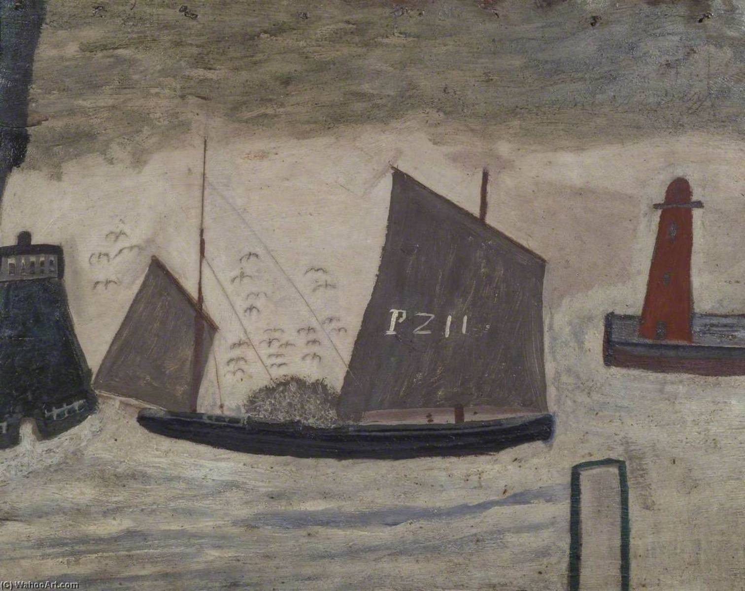 P . Z . 11, Petróleo por Alfred Wallis (1855-1942, United Kingdom)
