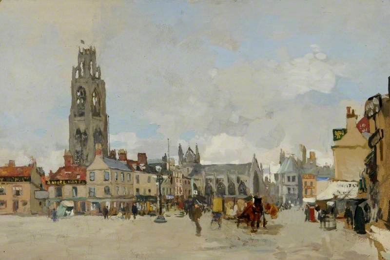Visto do place market , De boston , Lincolnshire , olhando norte, Petróleo por James Kerr Lawson (1862-1939)