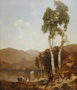 William James Blacklock - nos bancos de derwentwater vidoeiro de prata