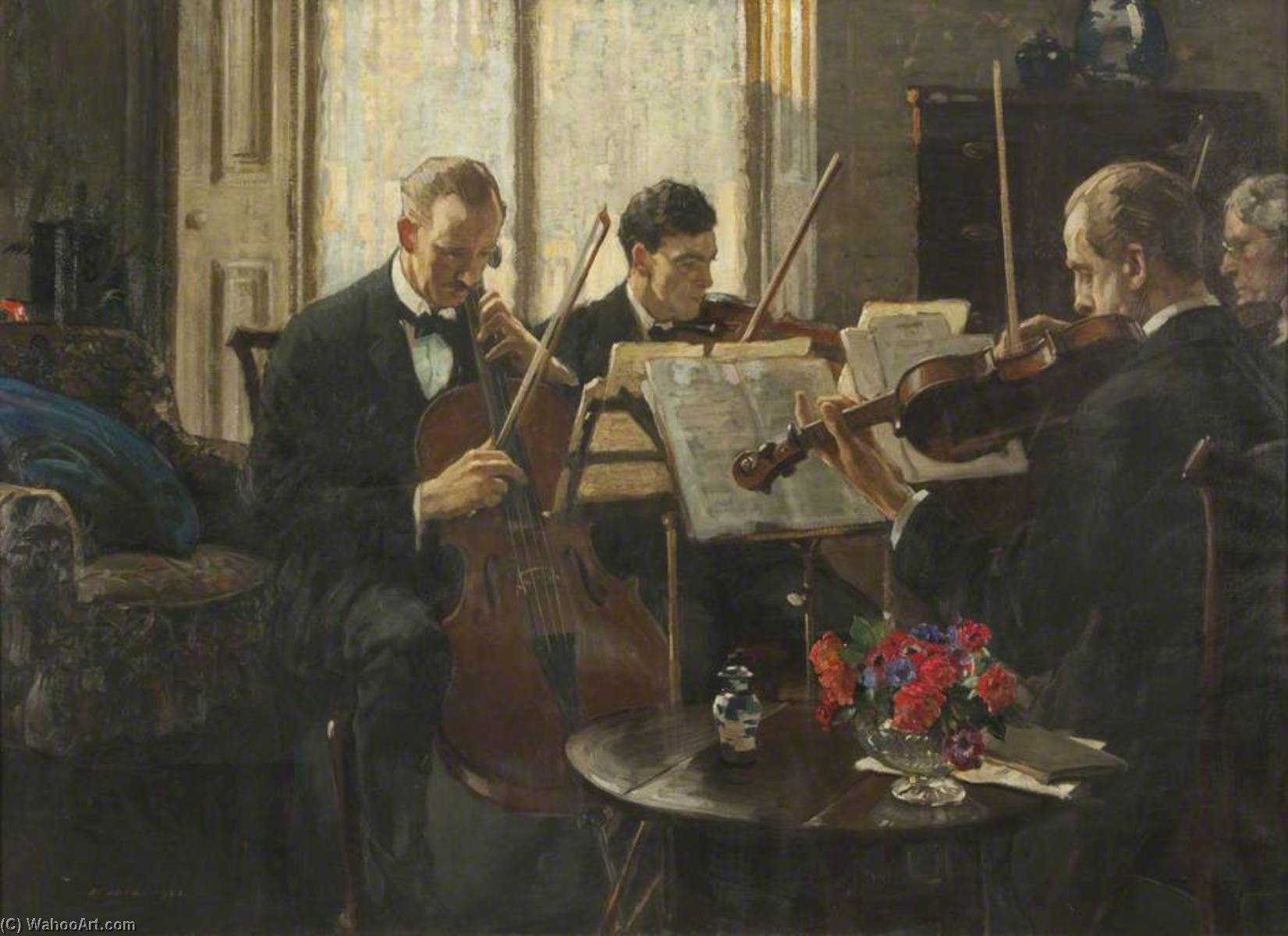 o Quarteto, óleo sobre tela por Richard Jack (1866-1952, United Kingdom)