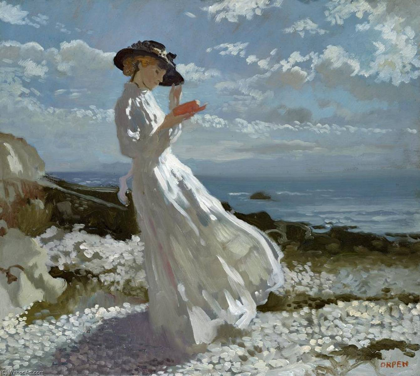 Graça leitura em Howth Bay, 1900 por William Newenham Montague Orpen (1878-1931, Ireland)