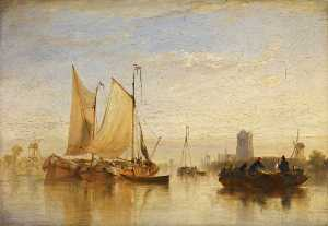 William Simson - passage boats Calmaria no maas at dort