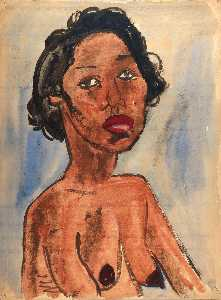 William Henry Johnson - Retrato nu feminino peito