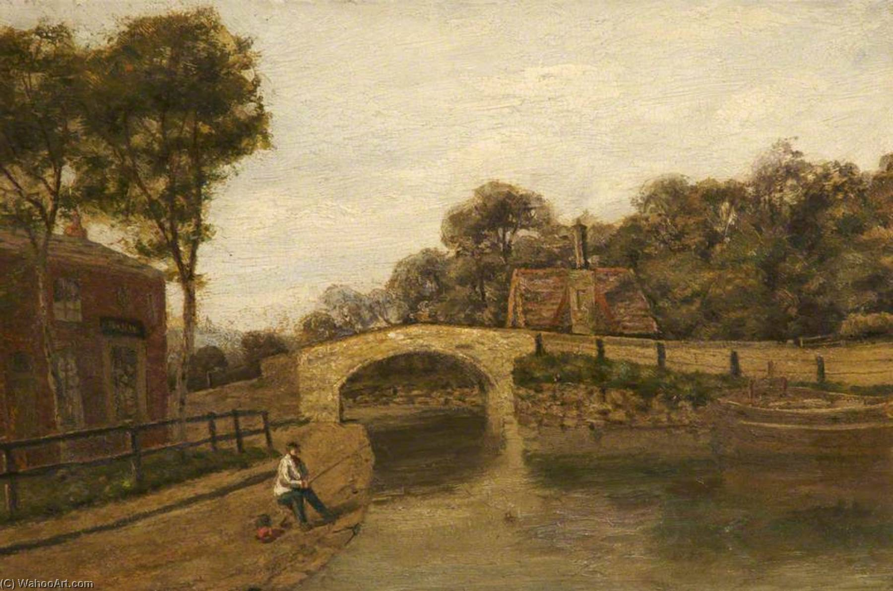 parrin lane bridge, 1890 por William Worthington Jolley | Reproduções De Pinturas William Worthington Jolley | WahooArt.com