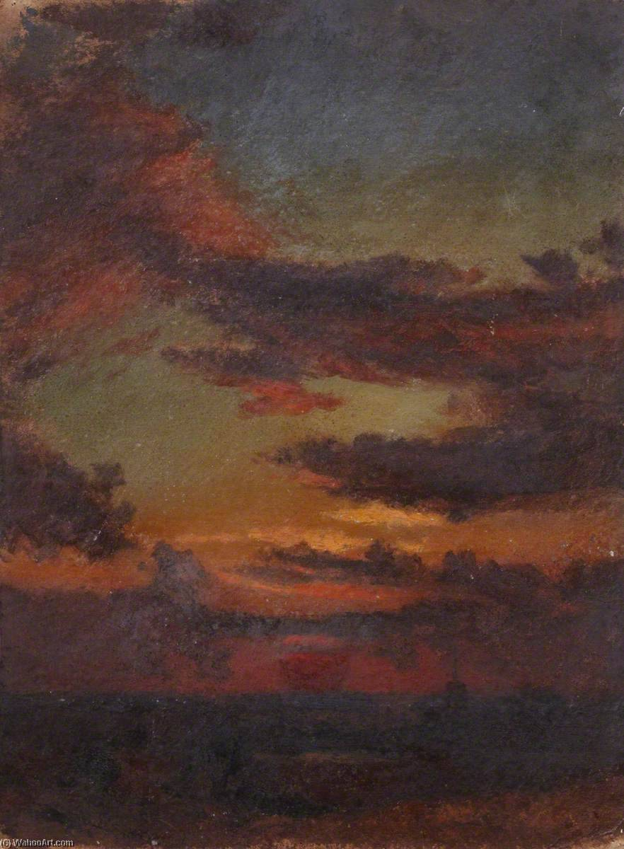 Pôr do sol sobre o  água , Petróleo por Thomas Stuart Smith