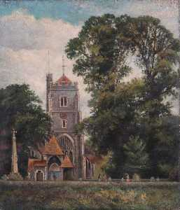 William Henry Hope - Beddington Igreja com Lychgate , Croydon , Surrey