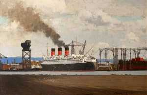 Norman Wilkinson - Conveniente Fora RMS 'Queen Mary' no clydebank , 1936