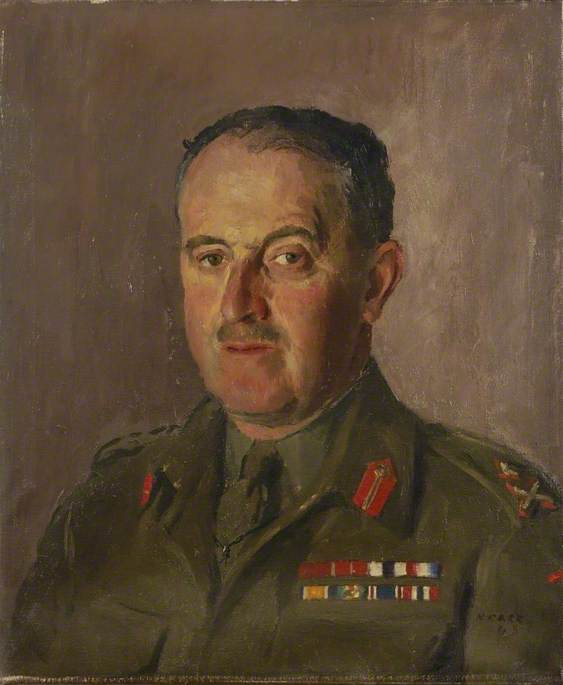 major general h . M . Ventania , CB , CBE , MC, óleo sobre tela por Henry Marvell Carr