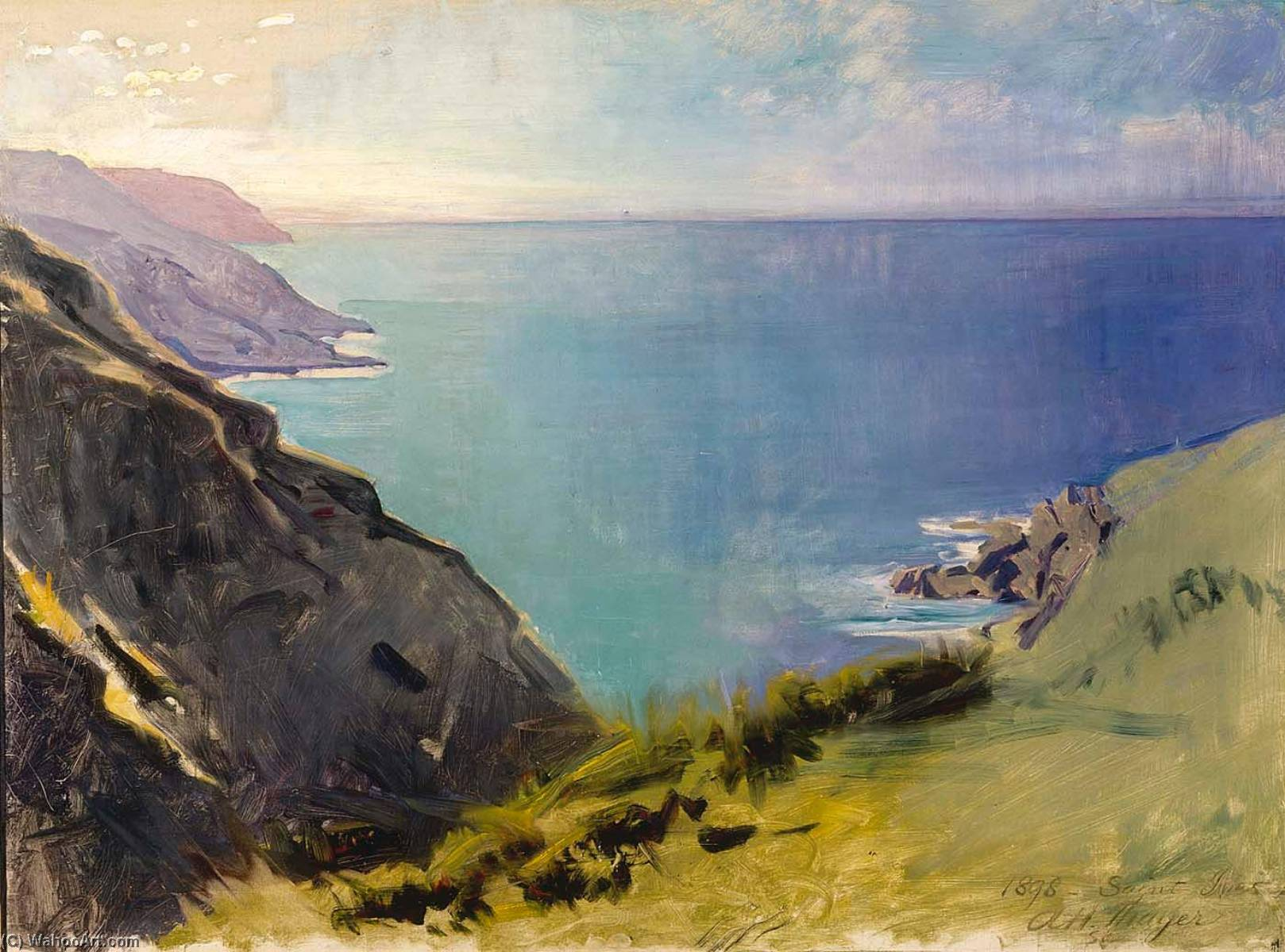 headlands cornish, óleo sobre tela por Abbott Handerson Thayer (1849-1921, United States)