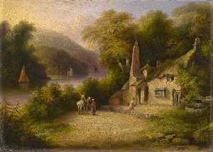 John Wallace Tucker - no rio Dardo entre Totnes e Dartmouth , Devon