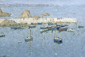 Terrick John Williams - o harbour em mevagissey , Cornualha