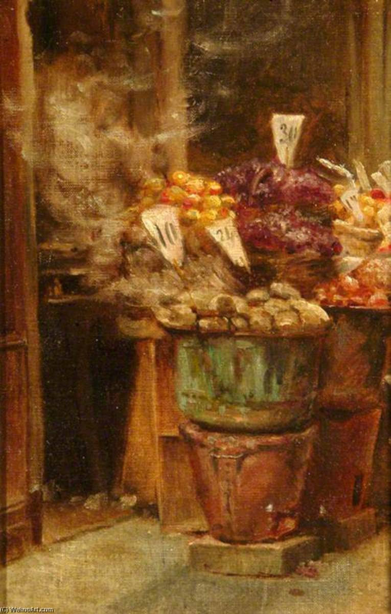 Italiano fruto  curral , óleo sobre tela por Percy Harland Fisher