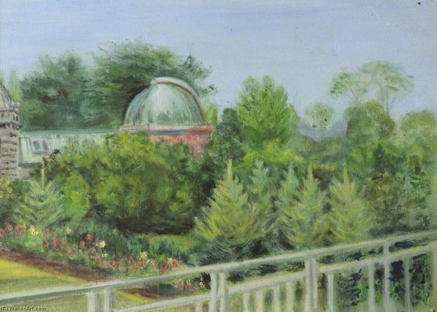 o Observatório Jardins , os parques , Em oxford ( antigamente o vista do Professor's escritório ), 1948 por Cyril Norman Hinshelwood (1897-1967, United Kingdom) | WahooArt.com