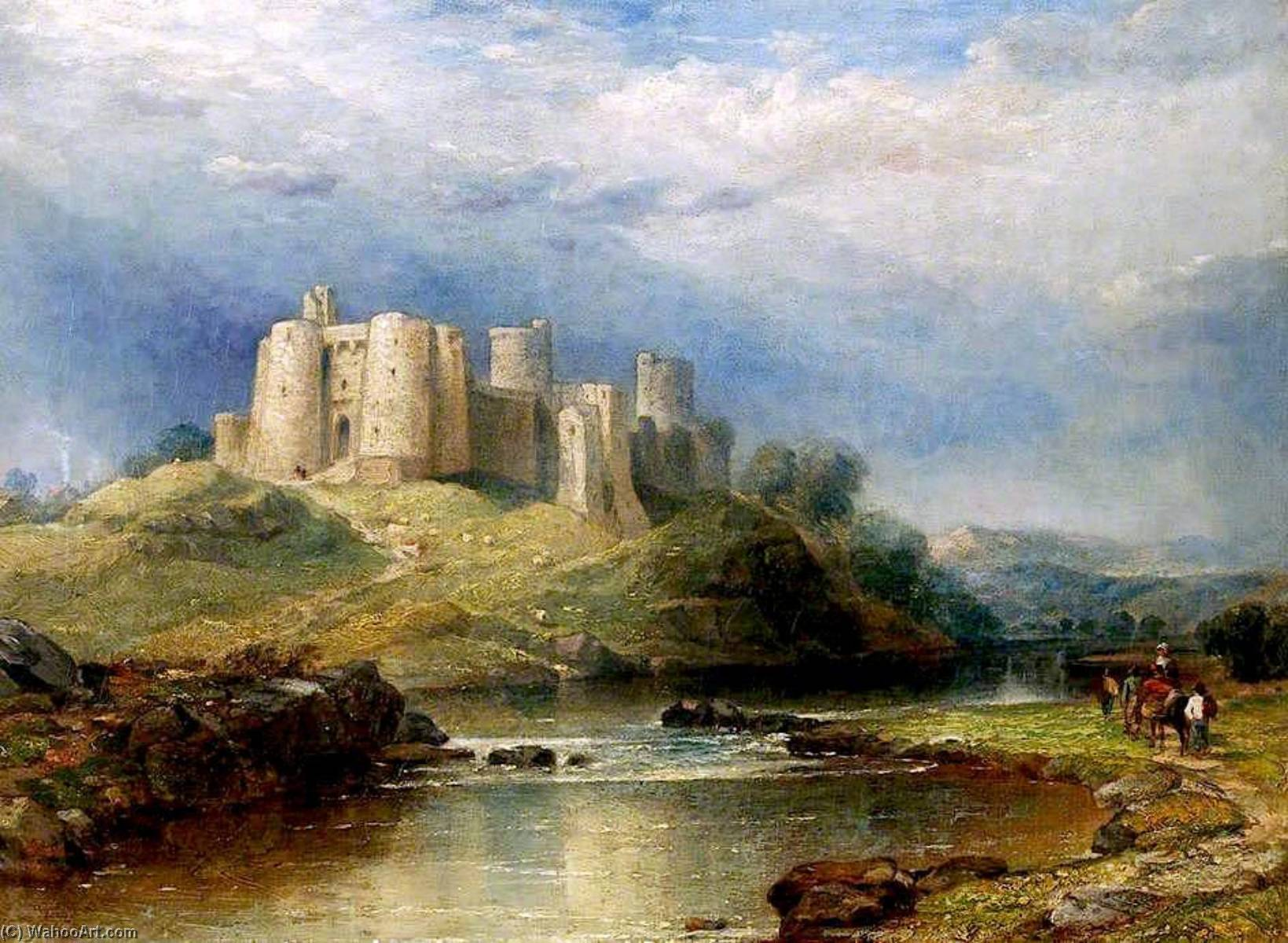 Castelo de Kidwelly por David Cox The Elder | Gravura De Qualidade De Museu David Cox The Elder | WahooArt.com